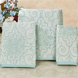 French Perle Groove Bath Towel Set Turquoise Bath Hand Fingertip