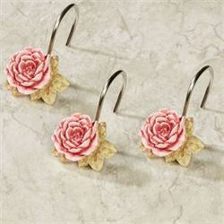Spring Rose Shower Hooks Light Pink 12 Piece Set