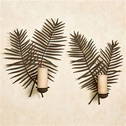Palermo Leaf Wall Sconce Set Weathered Green Set of Two