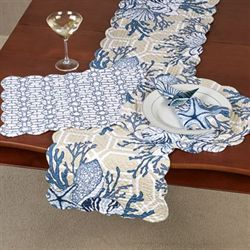 Indigo Sound Table Runner Blue/Tan 14 x 51