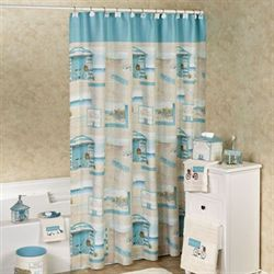 Beach Cruiser Shower Curtain Sky Blue 70 x 72