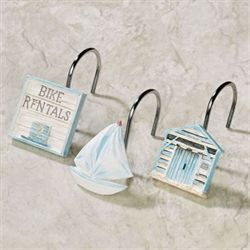 Beach Cruiser Shower Hooks Sky Blue 12 Piece Set