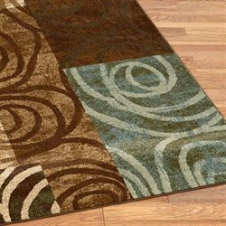 Blocked Spiral Rug Runner Chocolate 210 x 710