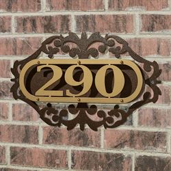 LaRoyal House Number Plaque Gold/Bronze One to Three Numbers