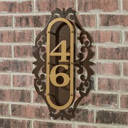 LaRoyal Vertical House Number Plaque Gold/Bronze One to Three Numbers