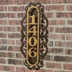 LaRoyal Vertical House Number Plaque Gold/Bronze Four to Five Numbers