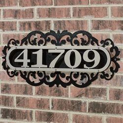 LaRoyal House Number Plaque Silver/Black Four to Five Numbers