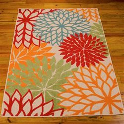 Floral Sunrise Rectangle Rug Green