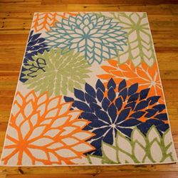 Floral Sunrise Rectangle Rug Navy
