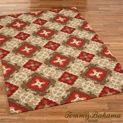 Fiery Damask Rectangle Rug Dark Red