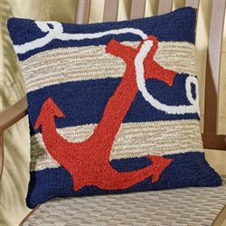 Anchor Pillow Navy 18 Square