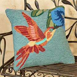 Hummingbird Sky Pillow Aqua Mist 18 Square