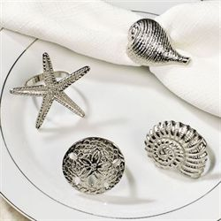 Silver Shells Napkin Rings Set of Four