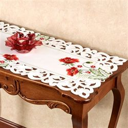 Red Poppies Table Runner Off White 16 x 36