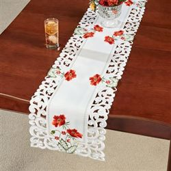 Red Poppies Long Table Runner Off White 13 x 65