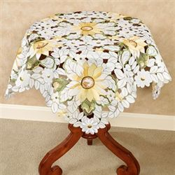 All Over Sunflowers Table Topper Light Cream 36 Square