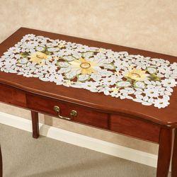 All Over Sunflowers Table Runner Light Cream 16 x 36