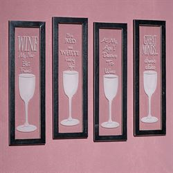 Wine Quotes Framed Wall Art Clear Set of Four