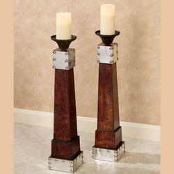 Brexley Floor Candleholders Brown Pair