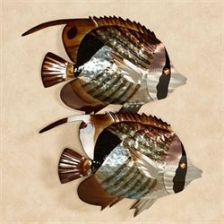 Striped Butterflyfish Wall Art Multi Metallic