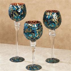 Peacock Vista Candleholders Blue Set of Three