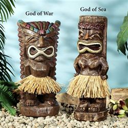 Ancient Tiki Warrior Statue Set Brown Set of Two