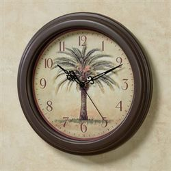 Palm Tree Wall Clock Brown