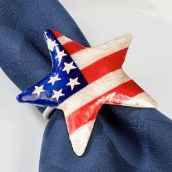 Patriotic Pearlized Napkin Rings Multi Bright Set of Four