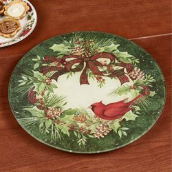 Cardinal Wreath Lazy Susan Green