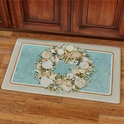 Coastal Wreath Cushioned Floor Mat Turquoise 30 x 20