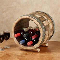 Wine Barrel Tabletop Wine Bottle Holder Walnut