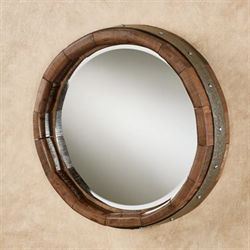 Wine Barrel Round Wall Mirror Walnut