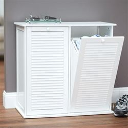 Parsons Laundry Hamper Cabinet White