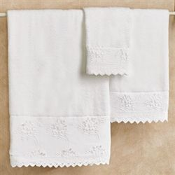 Flora Bath Towel Set White Bath Hand Fingertip