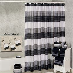 Ambrosi Shower Curtain Black 70 x 72