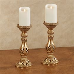 Adriana Candleholder Set Burnished Gold Set of Two