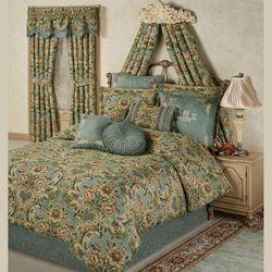 Calais Jacobean Floral Soft Teal Comforter Bedding