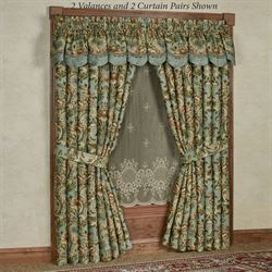 traditional window treatments window seat calais jacobean floral soft teal window treatment new traditional curtains touch of class