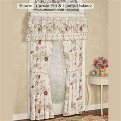 English Rose Ruffled Valance Ivory 60 x 19