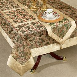 Holly Ribbon Tablecloth Gold