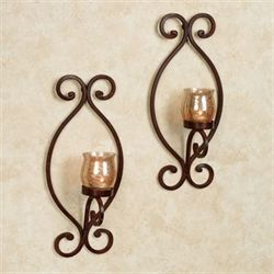 Euria Wall Sconces Rustic Brown Pair