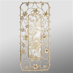 Jeweled Blooms Mirrored Wall Panel Gold