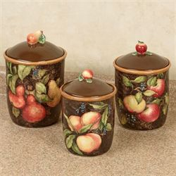 Capri Fruit Kitchen Canisters Multi Earth Set Of Three