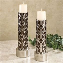 Declan Candleholders Silver Set of Two