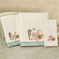 Seaside Vintage Bath Towel Set Light Cream Bath Hand Fingertip Wash