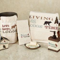 Live Love Lodge Bath Towel Set Ecru Bath Hand Fingertip
