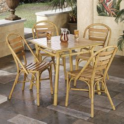 Mandalay Bamboo Table and 4 Chairs Bamboo Set of Five