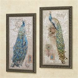 Peacocks on Linen Framed Wall Art Beige Set of Two