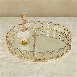 Looped Round Mirrored Vanity Tray Gold