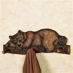 Sleeping Bear Wall Coat Rack Brown